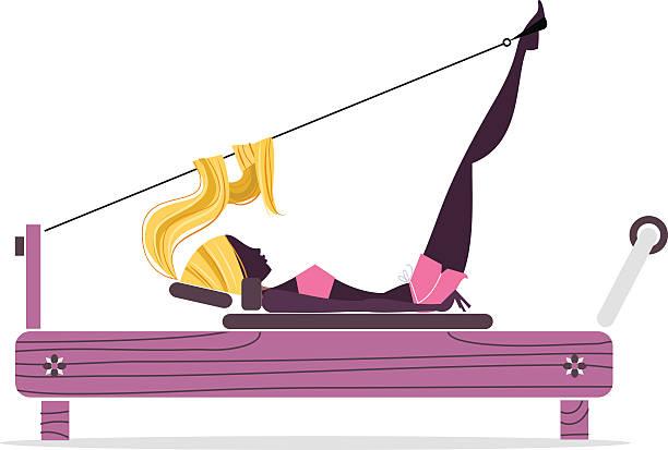 Garota silhueta de Pilates - ilustração de arte em vetor