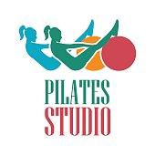 pilates icon for pilates school, pilates  studio. vector illustration