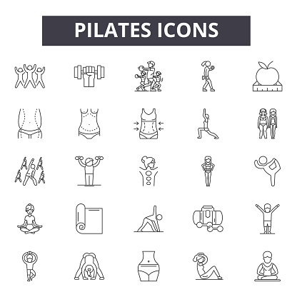 Pilates line icons, signs set, vector. Pilates outline concept, illustration: pilates,health,yoga,exercise,fitness,sport,healthy,body