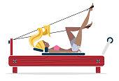Pilates Reformer Girl illustration