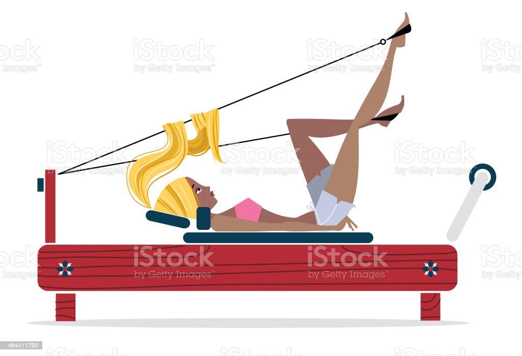 Illustrazione di Pilates Riformatore ragazza - illustrazione arte vettoriale