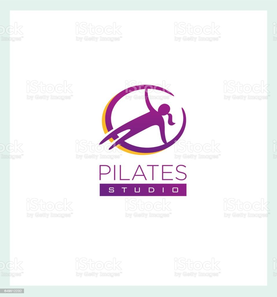 Pilates Studio Creative Sign Concep. Femine Fitness and Sport Illustration vector art illustration