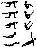 Set of Pilates woman silhouette in vector.