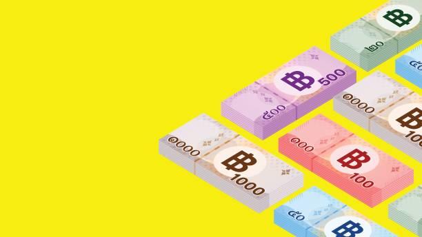 stockillustraties, clipart, cartoons en iconen met stapelbiljet geld thaise baht (1.000, 500, 100, 50, 20 type), stapel valuta geld thb, banknota geld voor business en finance concept, papier geld voor web banner en spaarmedia, kopieerruimte tekst - thaise munt