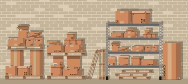 stapel kartons in regalen im lager - kastenständer stock-grafiken, -clipart, -cartoons und -symbole