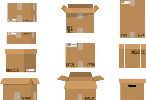 pile cardboard boxes set. - boxes stock illustrations, clip art, cartoons, & icons