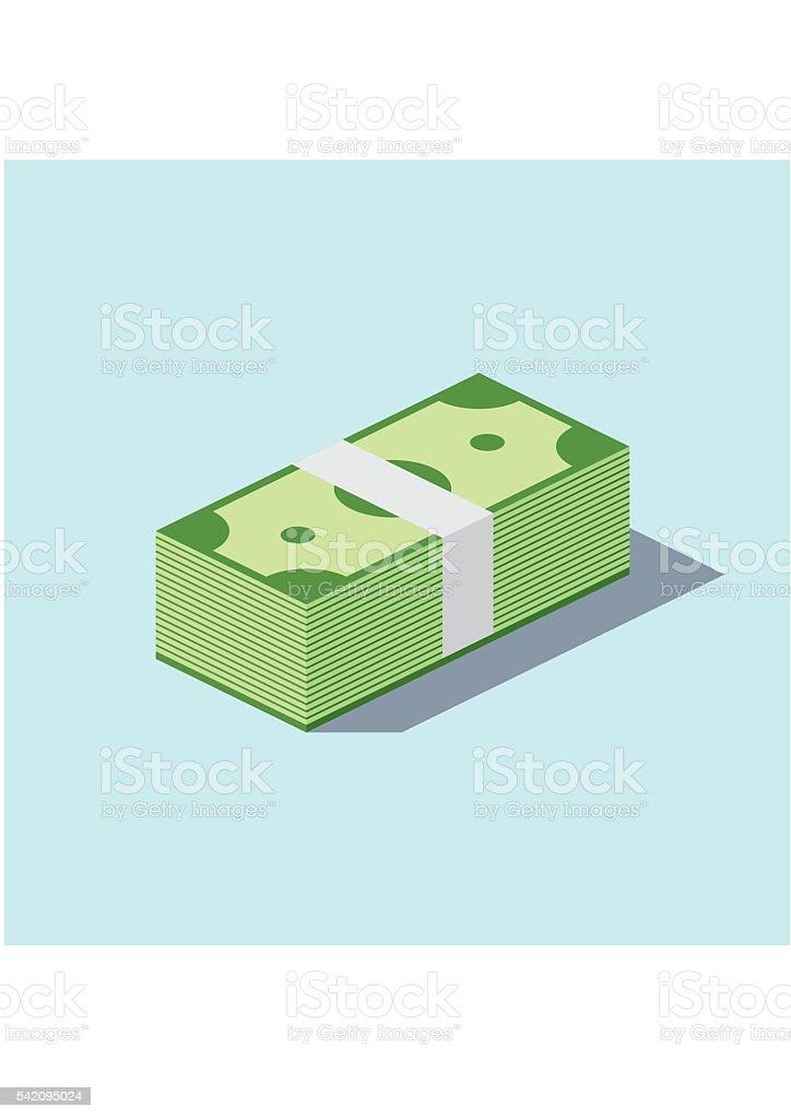 Pile cash stacked hundreds dollars. Dollar paper business finance money vector art illustration