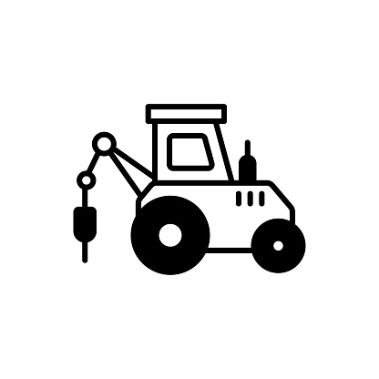 Pile Driver vector icon style illustration. EPS 10 file