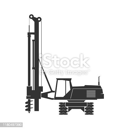 Pile driver isolated on background. Vector illustration