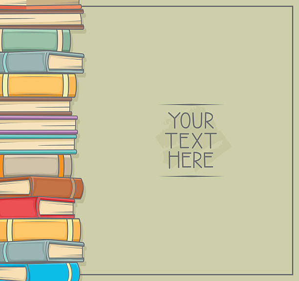stockillustraties, clipart, cartoons en iconen met pile of a books . copy space for your text - prentenboek