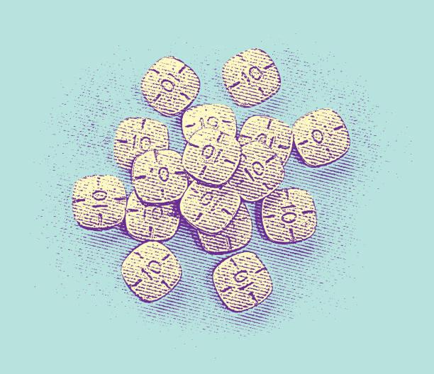 stockillustraties, clipart, cartoons en iconen met stapel van adderall pillen - amfetamine