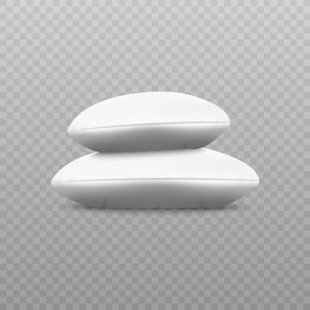 stapel von leeren kissen oder kissen aus weißem sauberen stoff 3d vektor isoliert. - stapelbett stock-grafiken, -clipart, -cartoons und -symbole
