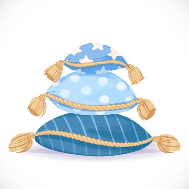 haufen von blauen kissen mit quasten isoliert auf weißem hintergrund - stapelbett stock-grafiken, -clipart, -cartoons und -symbole