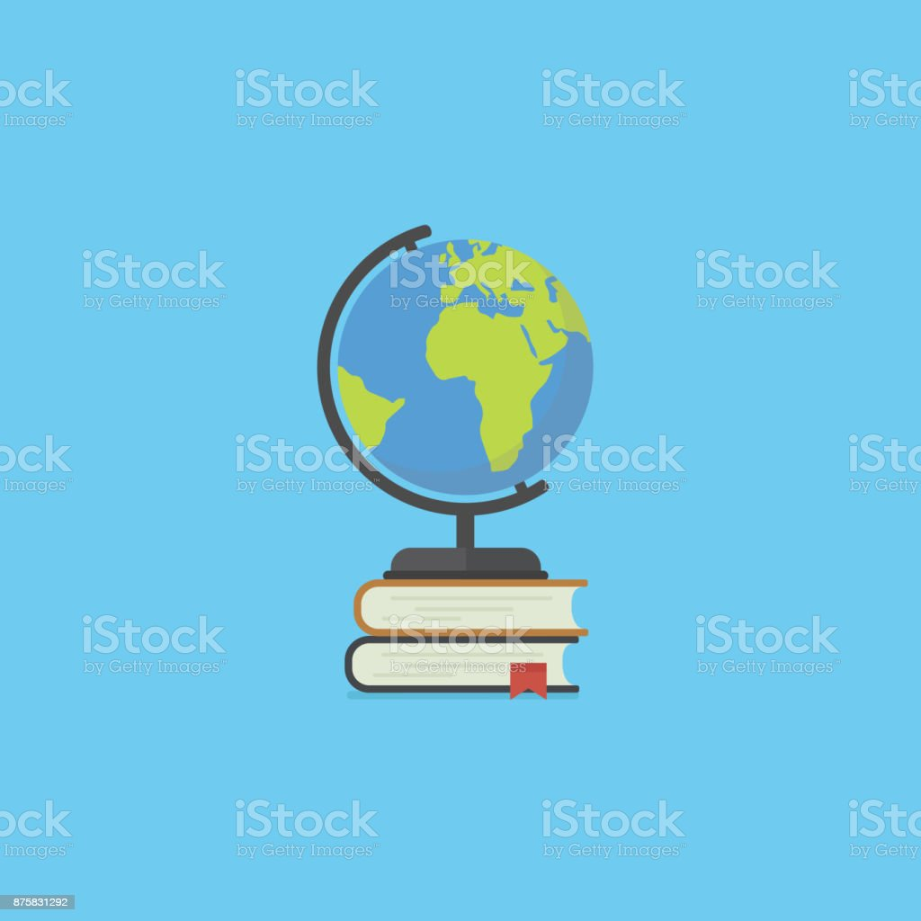 Pile of book and globe in flat style. Education concept. Back to school illustration with many closed books and globe vector art illustration