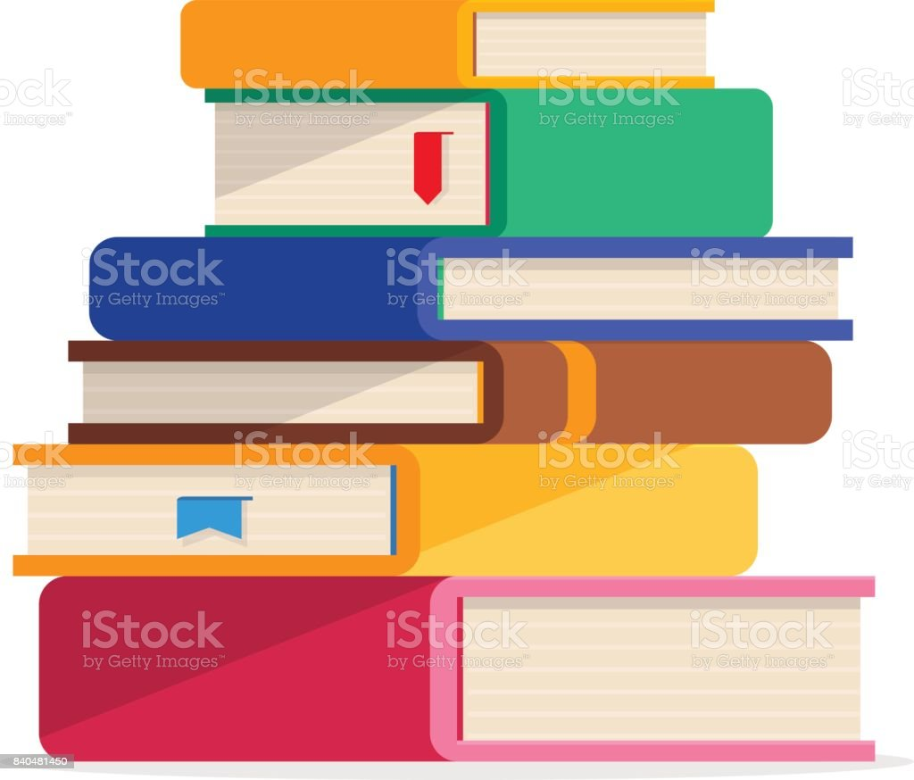 Pile of books in a flat style, isolated on a white background. vector art illustration