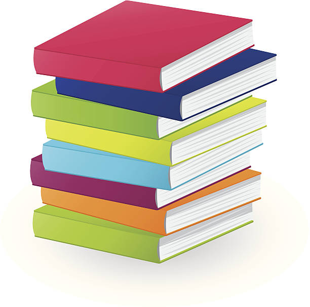 Pile of books Vector back to school pile of books book clipart stock illustrations