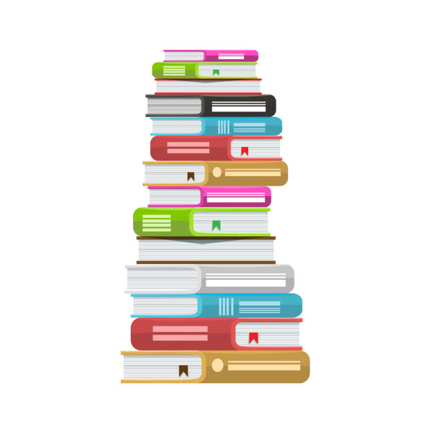Pile of books vector illustration. Icon stack of books with solid color and flat style. vector art illustration