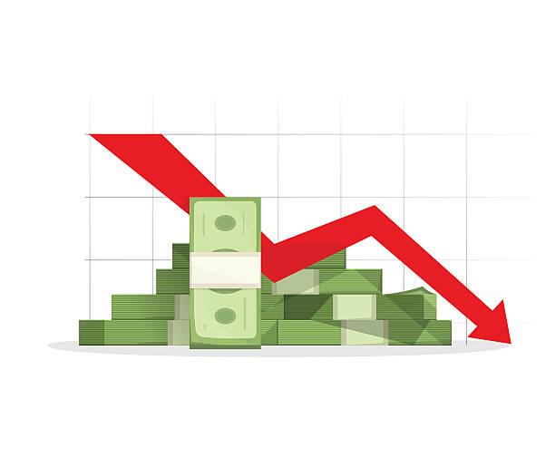 кучу денег красный спада диаграмма с стрелкой вниз - dollar bill stock illustrations