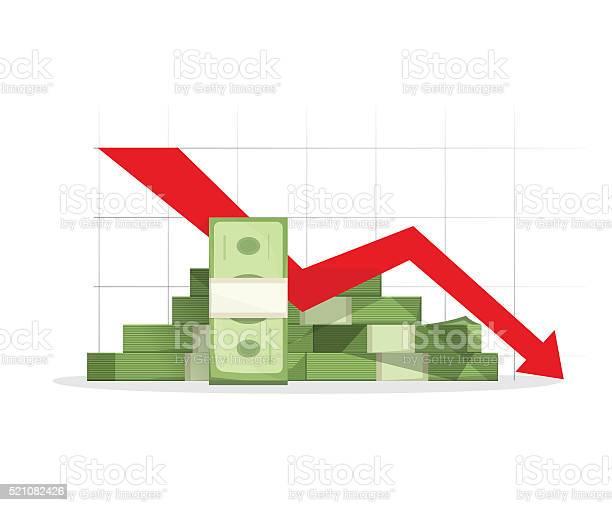 Pile Of Cash Red Recession Graph With Downward Arrow Stockvectorkunst en meer beelden van Afdalen