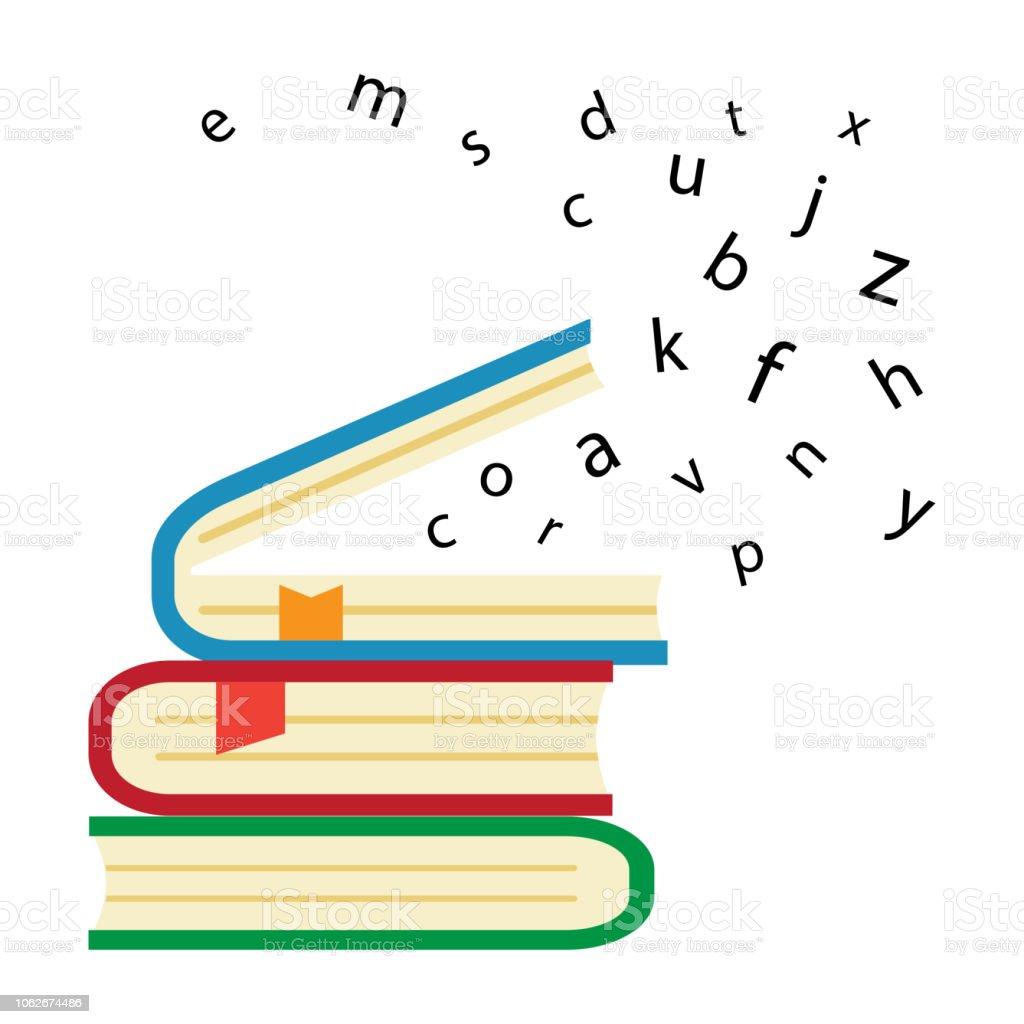 Pile De Livres Colores Livre Ouvert Avec Le Vol Des Lettres