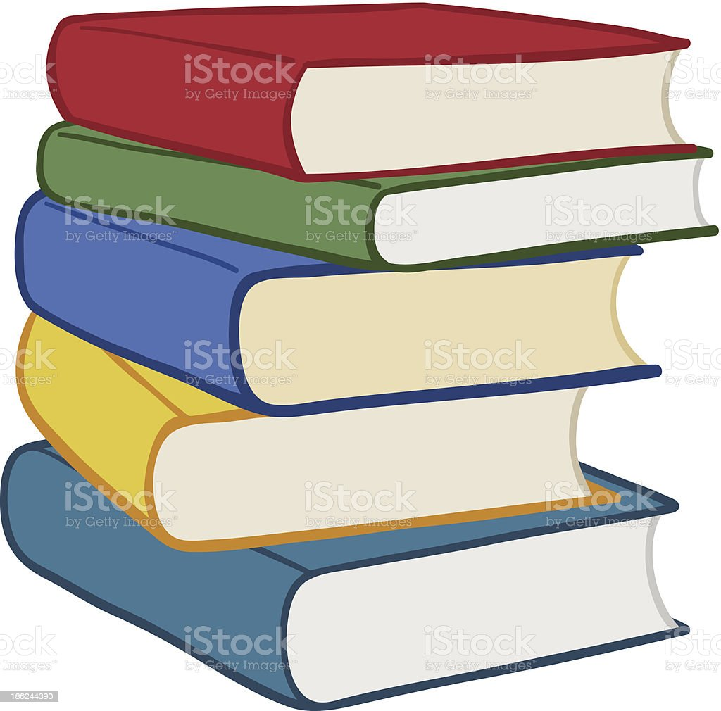 Pile of colourful hardcover books vector art illustration