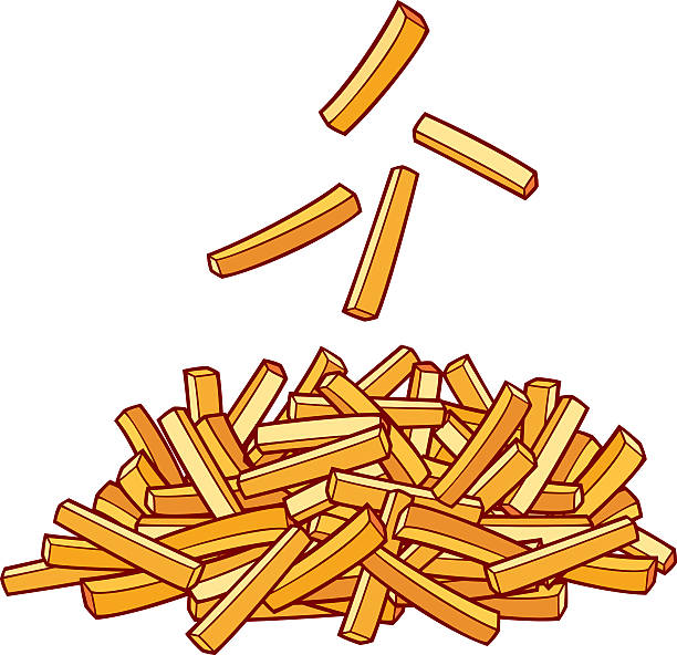 stockillustraties, clipart, cartoons en iconen met pile of french fries - friet