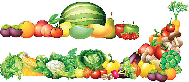 Pile of fresh vegetables and fruits Pile of fresh vegetables and fruits illustration fruit clipart stock illustrations