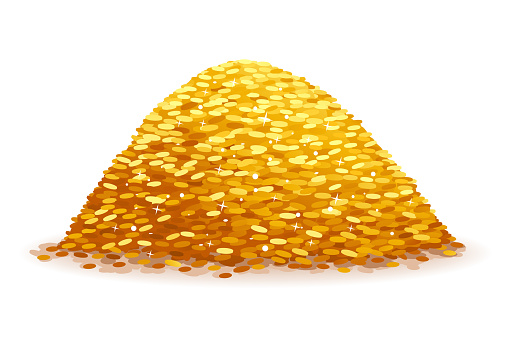 Pile of Gold Coins on White Background