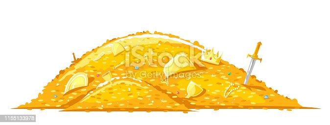 istock Pile of golden treasure cartoon illustration 1155133978