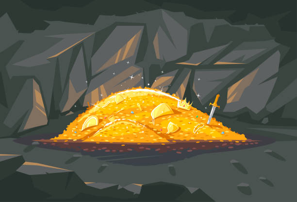 Pile of golden treasure in cave illustration Big bright pile of gold coins with different treasures in dark cave, treasures hidden deep in the cave, wealth conceptual illustration antiquities stock illustrations