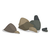 Vector illustration of pile of gray and brown smooth rocks with shadows
