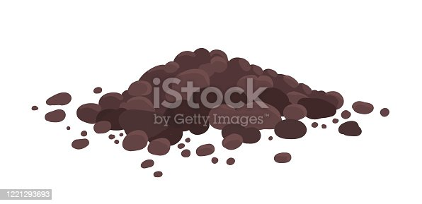 Pile of ground, heap of soil. For agricultural needs. Soil for growing plants. Vector illustration isolated on white background. Brown, on a white transparent background.
