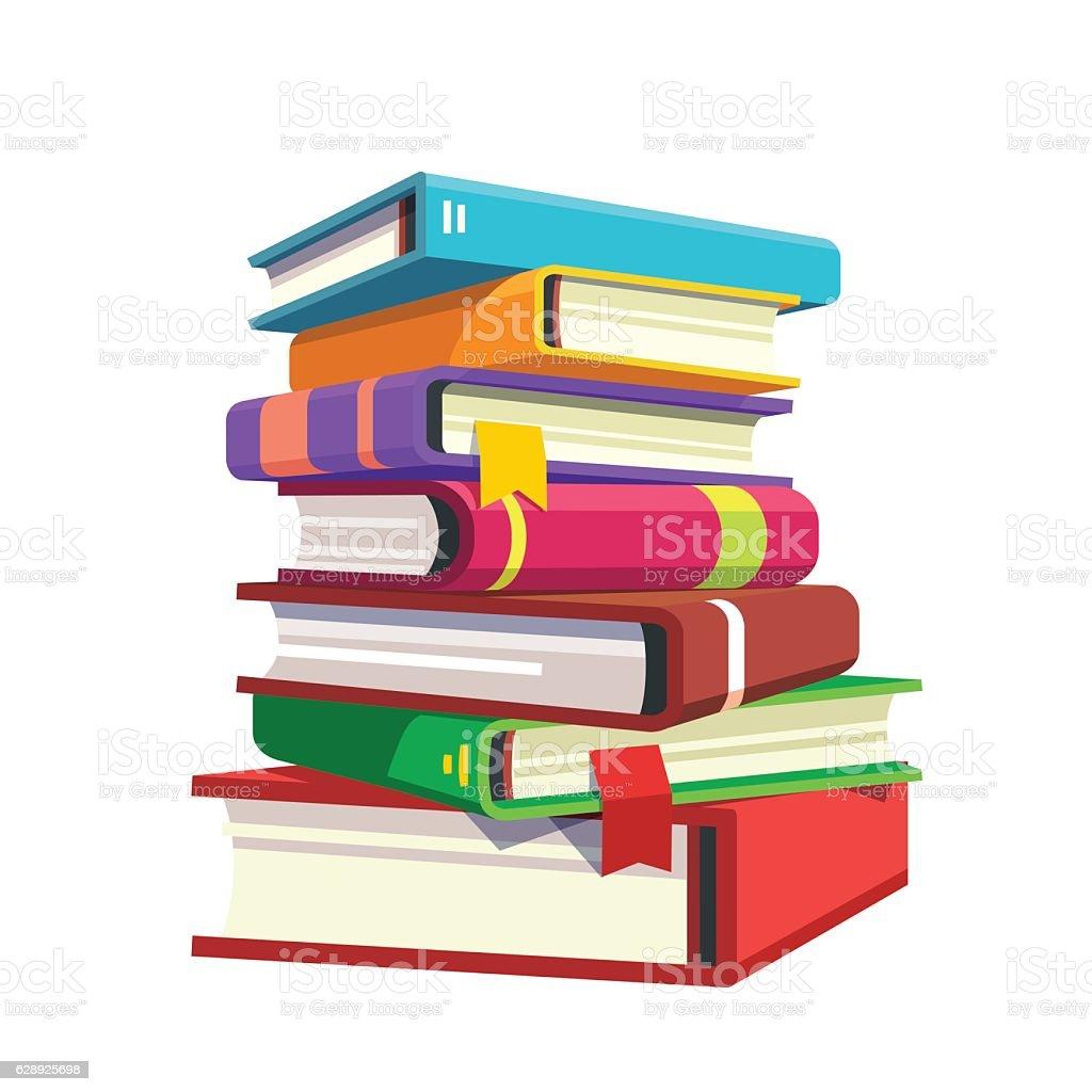 Pile of hardcover books vector art illustration