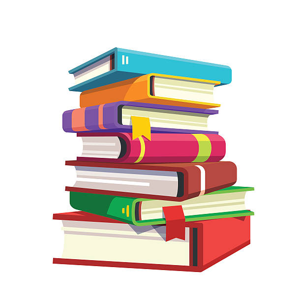 pile of hardcover books - book clipart stock illustrations