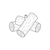 Logs, wood vector illustration, transparent graphic print. Log outline icon.