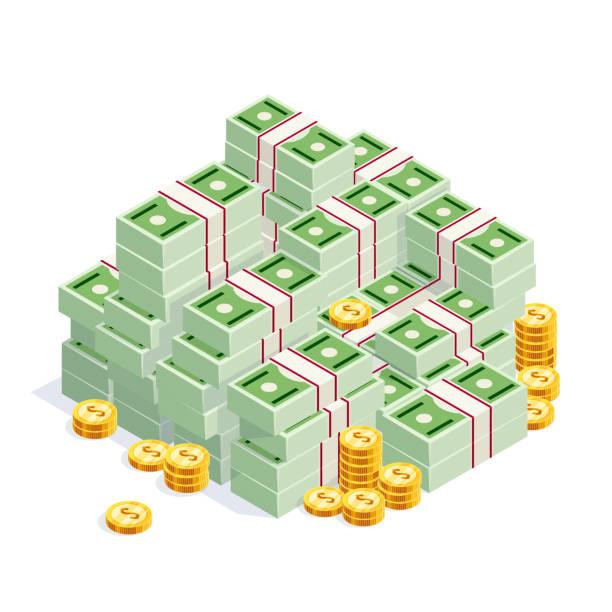 pile of money isolated. - dollar bill stock illustrations