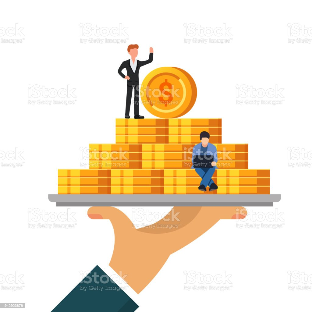 Pile of money on a tray. The concept of wealth or financial well-being. Small people work with coins. Flat vector illustration isolated on white background. vector art illustration