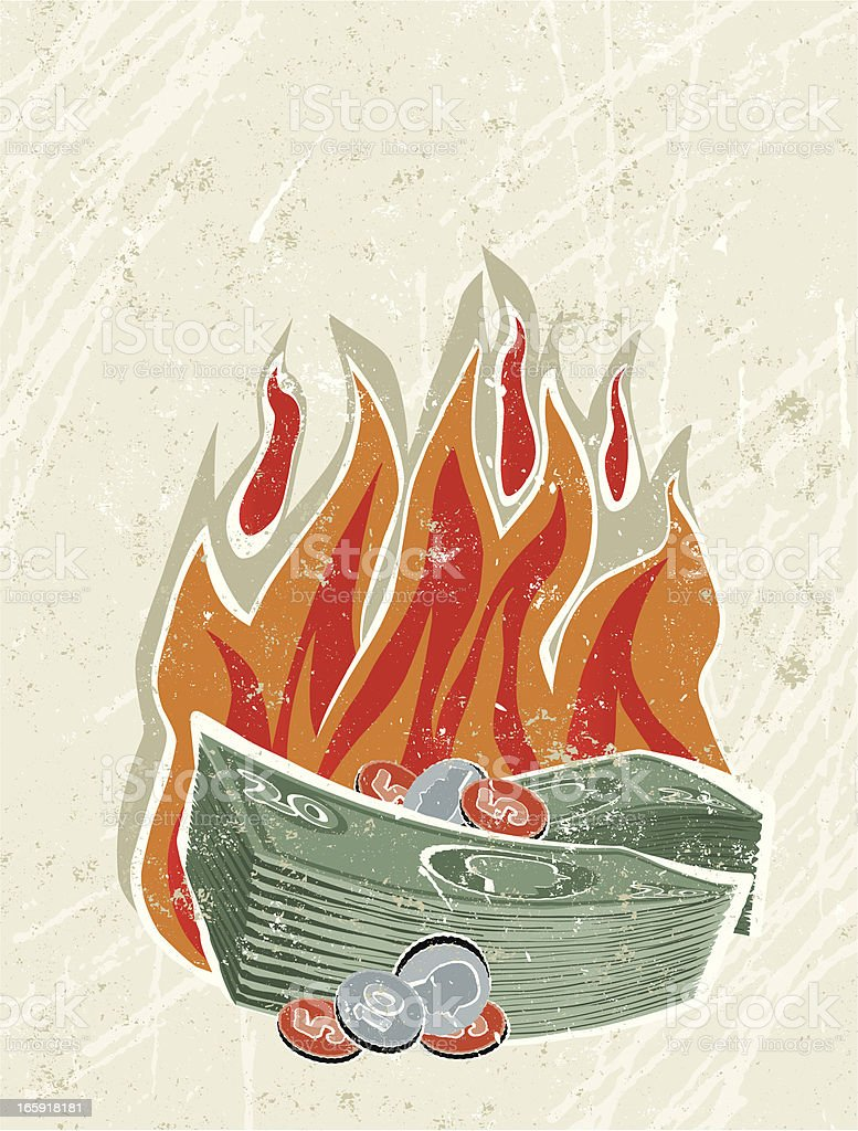 Pile of Money on Fire vector art illustration