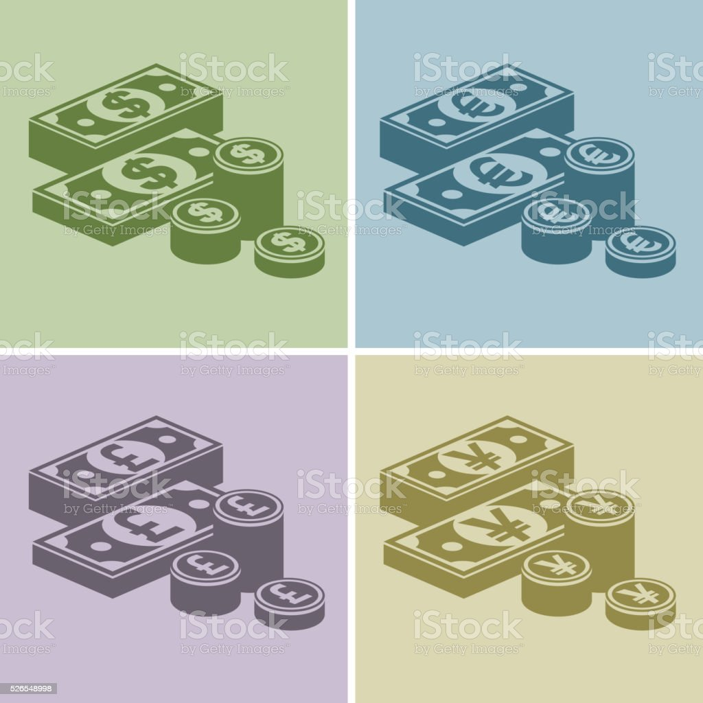 Pile of money stack banknotes and coins vector illustration vector art illustration