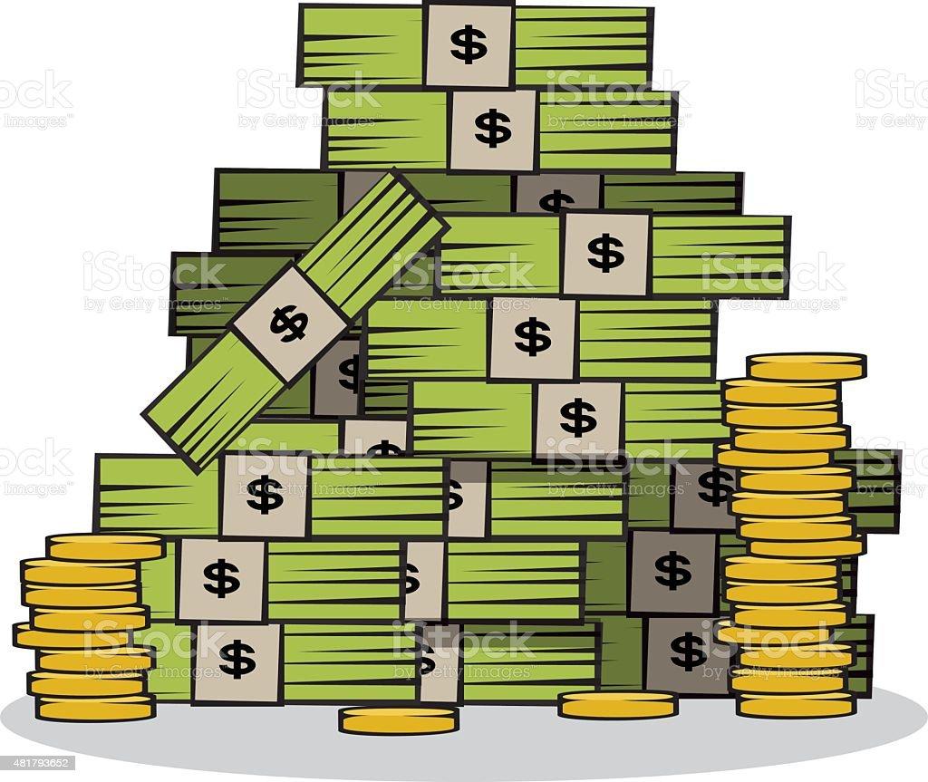 Pile of money vector art illustration