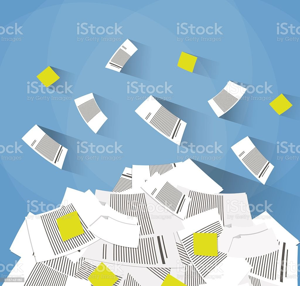 pile of office papers vector art illustration
