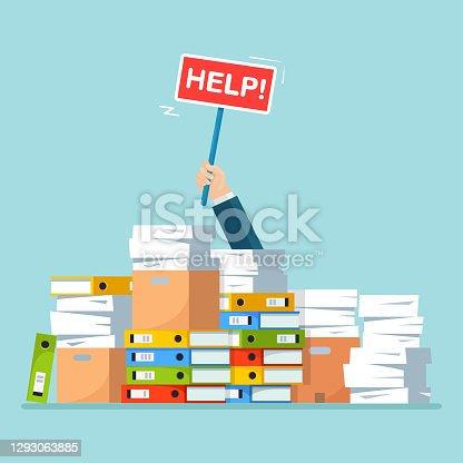 istock Pile of paper, document stack with carton, cardboard box, folder. Stressed employee in heap of paperwork. Busy businessman with help sign. Bureaucracy concept 1293063885