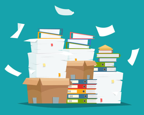 illustrazioni stock, clip art, cartoni animati e icone di tendenza di pile of paper documents and file folders in carton boxes. - disordinato