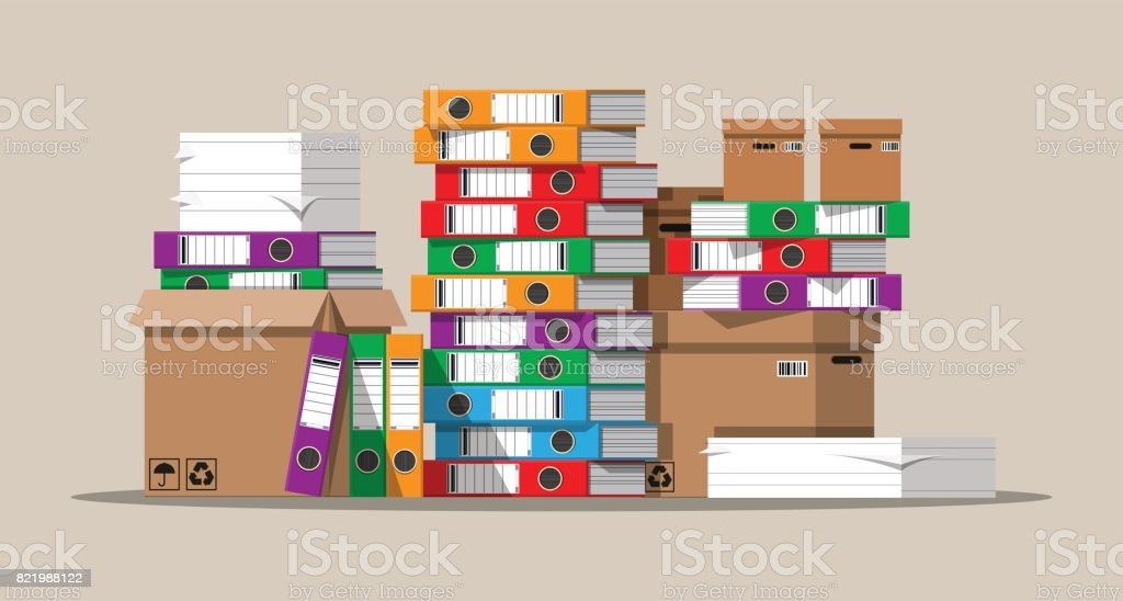 Pile of paper documents and file folders. vector art illustration