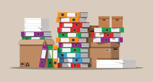 pile of paper documents and file folders. - ring binder stock illustrations