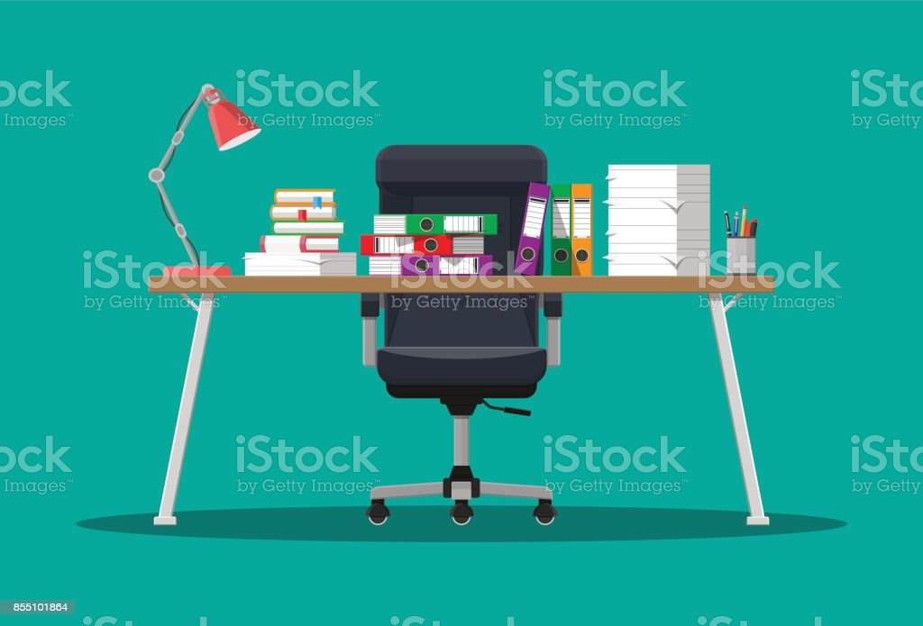 Pile of paper documents and file folders vector art illustration