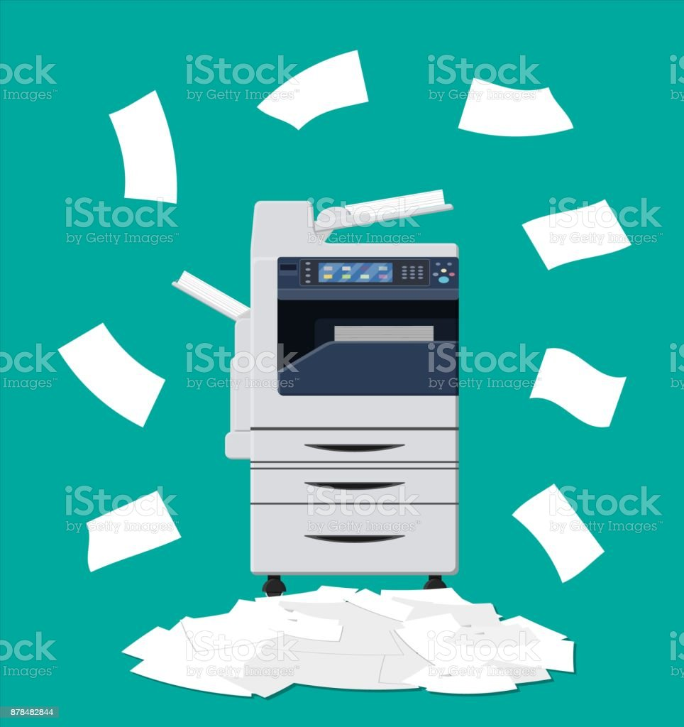 Pile of paper documents and printer