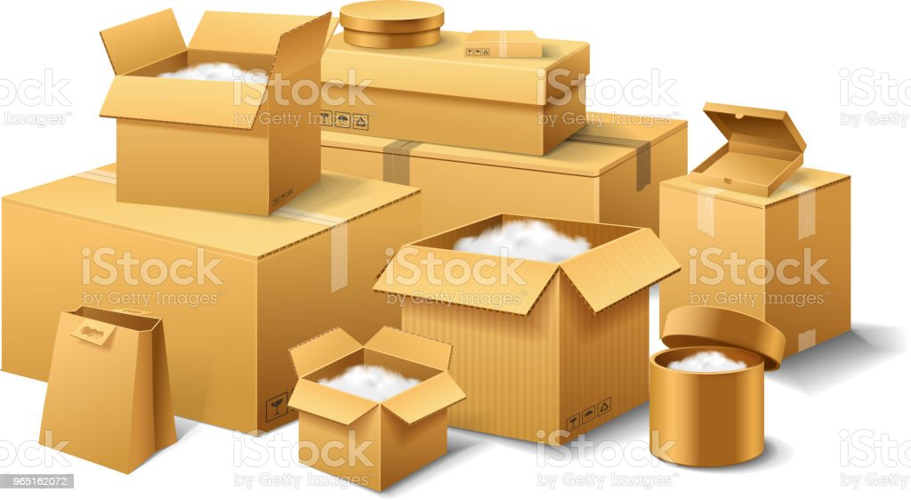 Pile of realistic stacked cardboard box. Brown delivery. Empty Carton, open and sealed package with on transparent white background. Organized by layer. Container for shipping, transportation and mail pile of realistic stacked cardboard box brown delivery empty carton open and sealed package with on transparent white background organized by layer container for shipping transportation and mail - stockowe grafiki wektorowe i więcej obrazów bez ludzi royalty-free