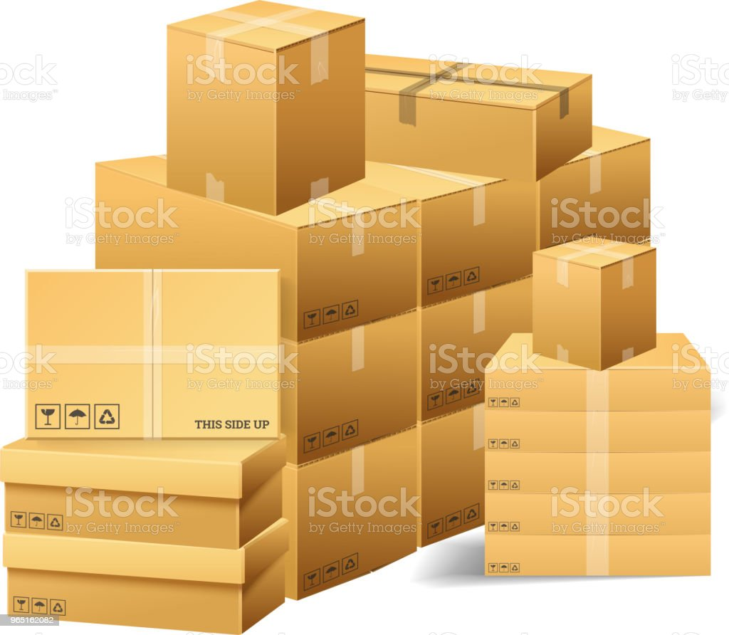 Pile of realistic stacked cardboard box. Brown delivery. Empty Carton, open and sealed package with on transparent white background. Organized by layer. Container for shipping, transportation and mail royalty-free pile of realistic stacked cardboard box brown delivery empty carton open and sealed package with on transparent white background organized by layer container for shipping transportation and mail stock vector art & more images of backgrounds