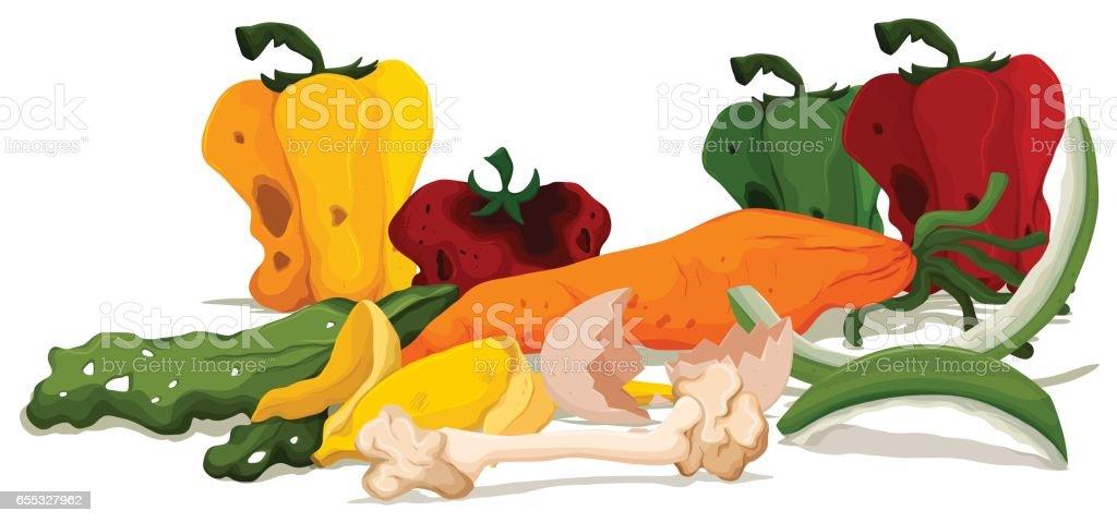 Pile of rotten food vector art illustration